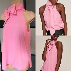 ME & EM Top Halter neck Pussy Bow Pink Sleeveless UK 14 RRP £149 Summer Elegant
