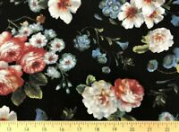 Rose Floral Shabby Chic Cottage Roses Romantic Flower Black Fabric t1/13