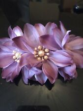 Wedding Light Purple Flowers With Pearls Hair Comb handmade