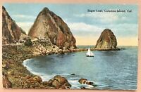 Catalina Island Ca Sugar Loaf Postcard Vintage Antique California Sailboat