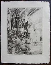 WAROQUIER HENRY: Eau forte originale, 1936. (La mort de venise, Barres). Dimensi