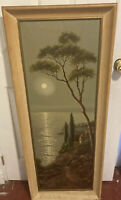 Large antique landscape oil painting dusk signed vintage