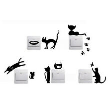 Black Cute Switch Sticker Cat Pattern Bedroom Wall Sticker Home Decor