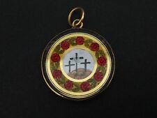 Superbe ancien pendentif religieux en or 14k peinture sur nacre Charles X XIXeme