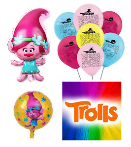 TROLL POPPY Party balloons - Foil Figure Balloons - Foil Round -  Latex Balloons