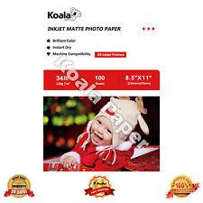 Koala 100 Sheets 8.5x11 Premium 34lbs Matte Inkjet Printer Photo Paper Canon HP