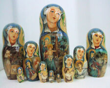 "10pcs Hand Painted One of a Kind Russian Nesting Doll of ""Christ's Nativity"""
