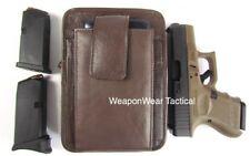 Brown Leather Unisex Pistol Pack Belt Holster Concealment Concealed Carry #16 L