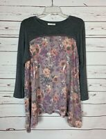 Entro Boutique Women's S Small Gray Purple Floral Cute Fall Tunic Top Shirt Tee