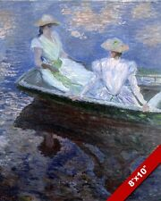 CLAUDE MONET TWO WOMEN IN DRESSES ON A BOAT PAINTING ART REAL CANVAS PRINT