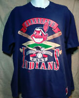 VTG 90s Cleveland Indians Chief Wahoo  T Shirt Baseball Logo Sz  XXL Navy Blue