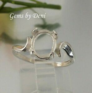 (7x5-10x8mm) Oval Cab Sterling Silver Swirl Pre-Notched Ring Setting (Size 5-8)