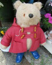"VINTAGE TEDDY BEAR GABRIELLE 1972 PADDINGTON 20"" ENGLAND BLUE DUNLOP BOOTS RED C"