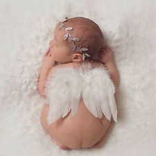 Newborn White Angel Wings Headband Costume Photo Photography Props-,