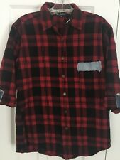 Riley Womens Button Shirt Med. Red Black Plaid Made in USA Flannel 3/4 Sleeve