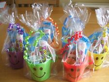 10 Pre Filled Unisex Smiley Cup Party Loot In Cello Bag With Ribbon - Free Post