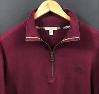 BURBERRY BRIT Men's Purple Equestrian Knight Logo 1/4 Zip Pullover Sweater sz XL