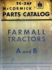 Farmall International Harvester A B Tractor Parts Manual 228pg McCormick TC-26F