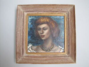 Vintage Mid Century Oil on Canvas Portrait Of a Lady Woman Girl Painting Framed