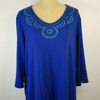 QUACKER FACTORY Women's Pullover Top XL Blue Embellishments V-Neck 3/4 Sleeve