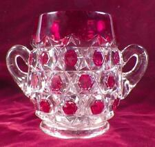Red Block Sugar Bowl Ruby Stained Early American Pattern Glass Captain Kidd