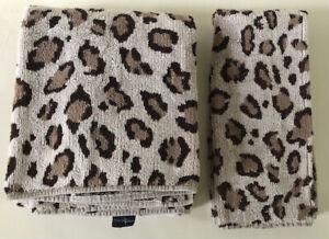 Vintage Set 2 Ralph Lauren Aragon Cheetah Leopard 1 Bath 1 Hand Towel