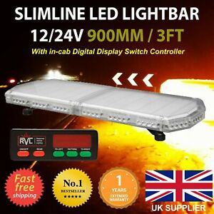 "35"" 90cm 900mm LED Slimline Recovery Lightbar Beacon Lights Amber Flashing"