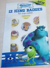 New Disney Pixar Monsters University 12 Cake Toppers Icing Badges for Cupcakes