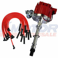 10.5MM Red 90 Spark Plug Wires and Distributor For SBC BBC 350 305 454 V8's HEI