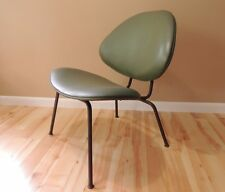 Mid Century Modern low lounge chair in vinyl bent-tubular steel frame Eames era