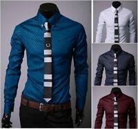 Men's Luxury Dress Shirts Business Shirt Slim Fit Long Sleeve Casual Shirts Tops