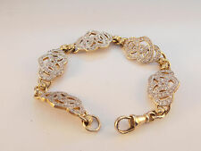 """9ct Gold C/Zirconia Hearts Bracelet  8""""  1.6cm at Widest Point 27gm  Second Hand"""