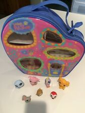 Littlest Pet Shop Vinyl Carrying Case with 7 Pets Pink Poodle Golden Retriever