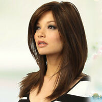 LN_ 100 REAL HAIR GOLDEN BROWN STRAIGHT PARTIAL BANGS HUMAN HAIR WIG ENTICING
