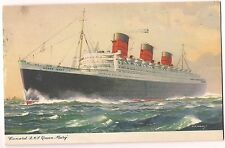 CUNARD R.M.S. QUEEN MARY Boat PAQUEBOT Postmark Postcard C.E. Turner