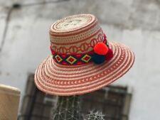 Artisan Wayuu Ethical Hand Woven Straw Hat Columbia Pom Pom Fair Trade Orange