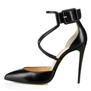 Sexy Women Pointy Toe Buckle Strap Stilettos High Heel Pointy Toe Shoes 44-46 L
