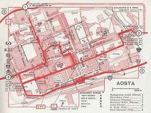 C2646 Plant Of City Of Aosta - Map Geographical Period - 1967 Vintage Map