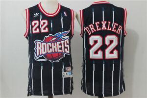 New Houston Rockets #22 Clyde Drexler Retro Basketball Jersey Deep Blue