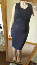 FRENCH CONNECTION Navy Stretch Bodycon Wiggle Pencil Dress Short Sleeves UK 6