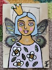ORIGINAL ACEO Painting Folk Art Flower Whimsical Girl Woman Crown Butterfly Wing