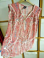 Ditsy Flowers Top Zip Front UK 10 EUR 38 Sleeveless Red Multi Tunic