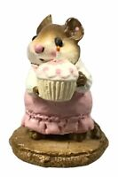 WEE FOREST FOLK WFF FIGURINE M99 BIRTHDAY GIRL MOUSE CUPCAKE PINK 1983
