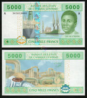 CENTRAL AFRICAN STATES GABON 5,000 5000 Francs 2002 P-409A UNC Uncirculated