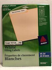 """AVERY 08366 File Folder Labels for Inkjet Printer 0.6 x 3.43"""" (PACK OF 750) NEW"""