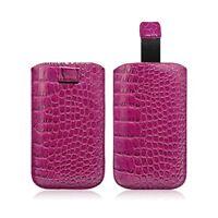 Housse Coque Etui Pochette Style Croco Couleur Rose Fushia pour Samsung Galaxy S