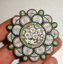 PERFECT!  HUGE!  RARE!  1800's VICTORIAN MICRO MOSAIC ITALY BROOCH PASTEL TILES!