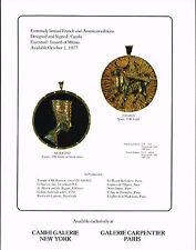 1977 Vintage Camhi Nefertiti Taurus Pendant Medal Medallion Art Photo Print Ad