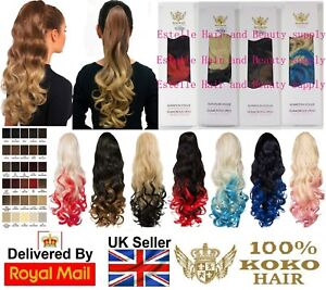 """KOKO 21"""" Curly Dip Dye Ponytail Claw Clip or Drawstring Ombre Various colours"""