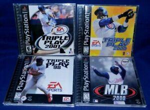 Lot of 4 PlayStation 1;Triple Play 98, 2000, 2001,MLB 2000,All w/Man, VG,Free SH